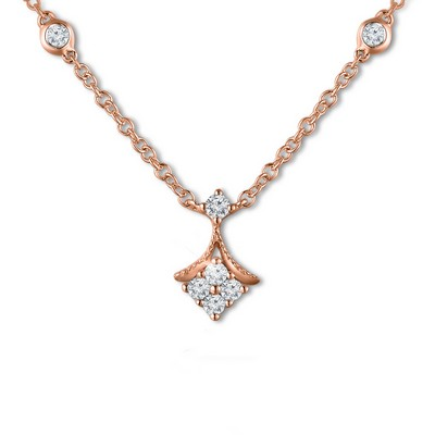 "H05901N_KR-18K/750 Red Gold Diamond Necklace (~16"")"
