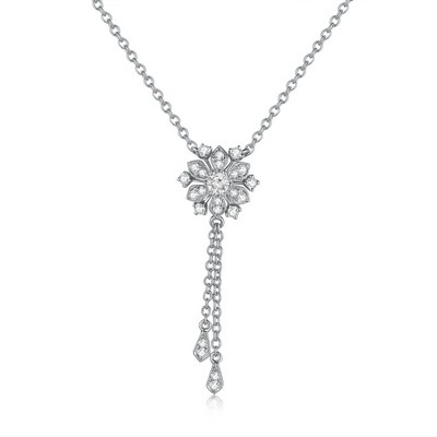 S08841N-18K/750 White Color Gold Diamond Necklace