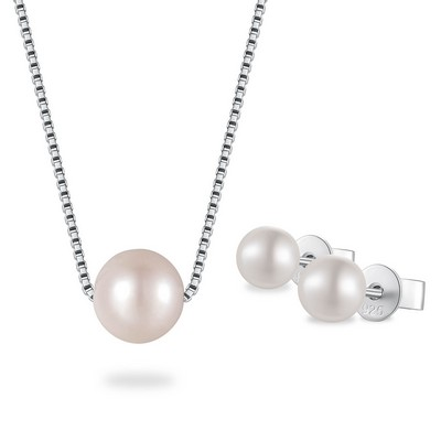 925 Silver Pearl Necklace & Earrings Set
