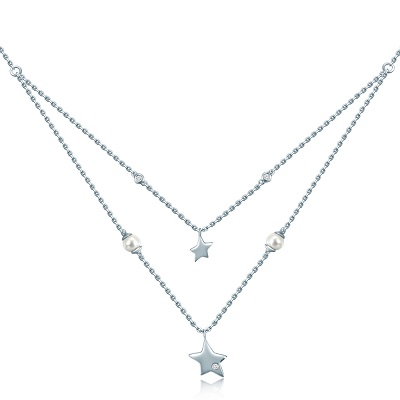 Starlight 925 Sterling Silver Diamond Pearl Necklace