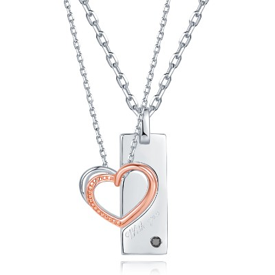 C07122SET-With You 925 Sterling Silver Couple Necklaces
