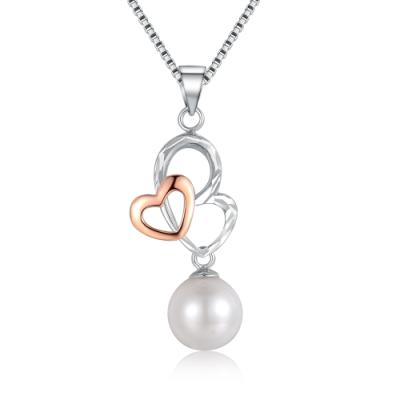 2 Hearts As 1 14K/585 Red and White Gold Pearl Pendant