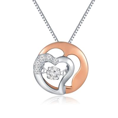 18K/750 Rose and White Color Gold Diamond Pendant