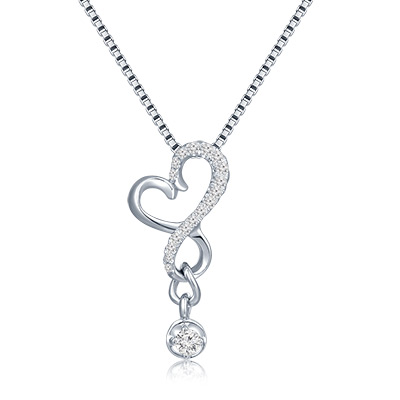 S10138P-18K/750 White Color Gold Diamond Pendant