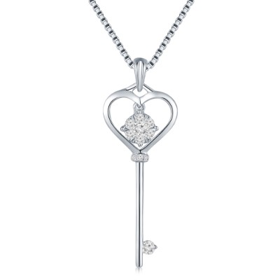S10426P-Love Key 18K/750 White Gold Diamond Pendant