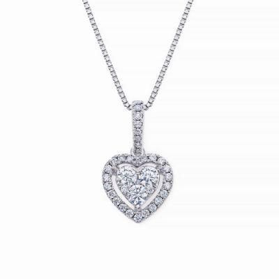 S10579P-18K/750 White Color Gold Diamond Pendant