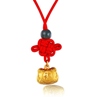C05900PSET-Gold  Pendant with Red String
