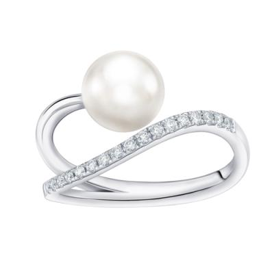 N03955R-18K/750 White Color Gold Diamond/Pearl Ring