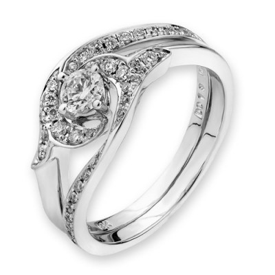 N02630S-18K/750 White Color Gold Diamond Set Ring